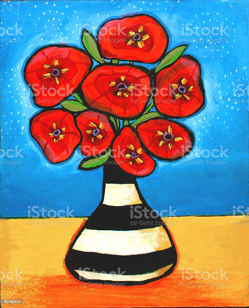 Red Poppies in Black and White Vase stock photo