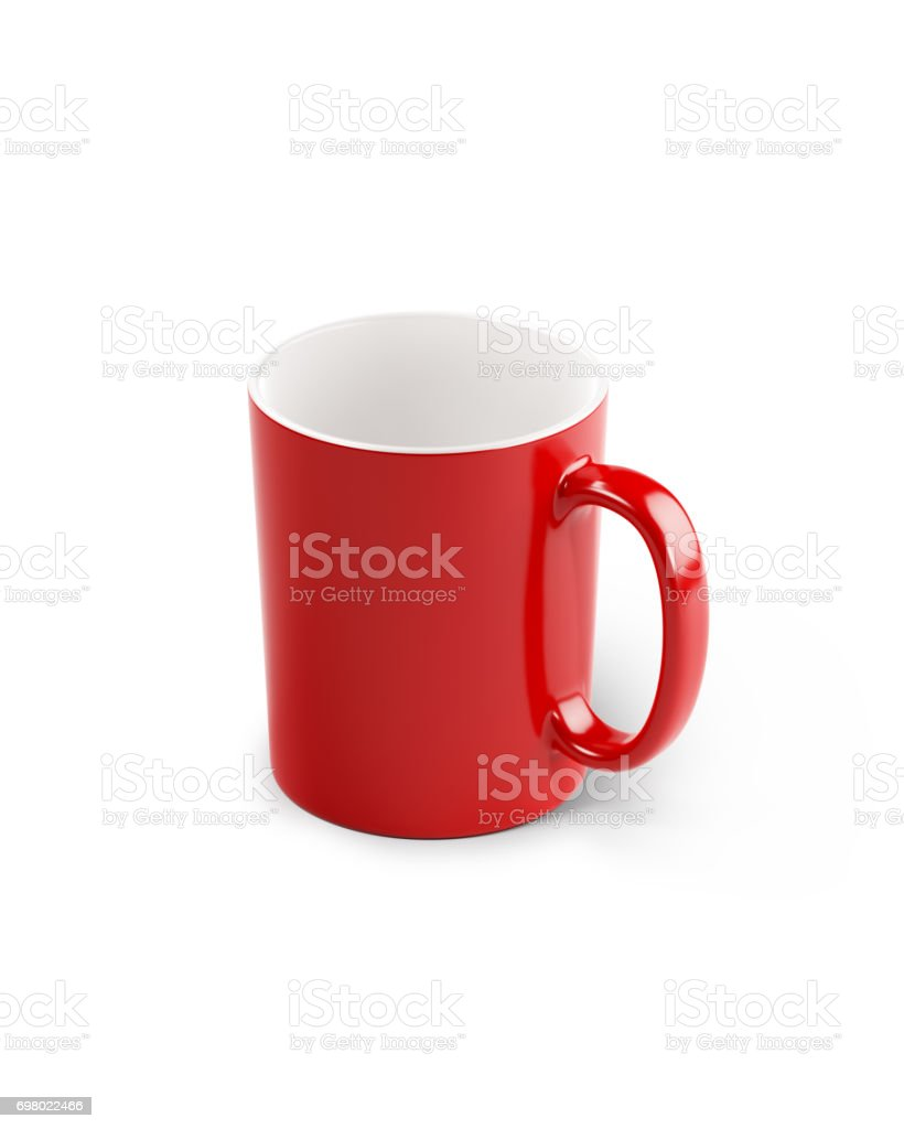 Red  Porcelain  Mug Isolated on White Background stock photo