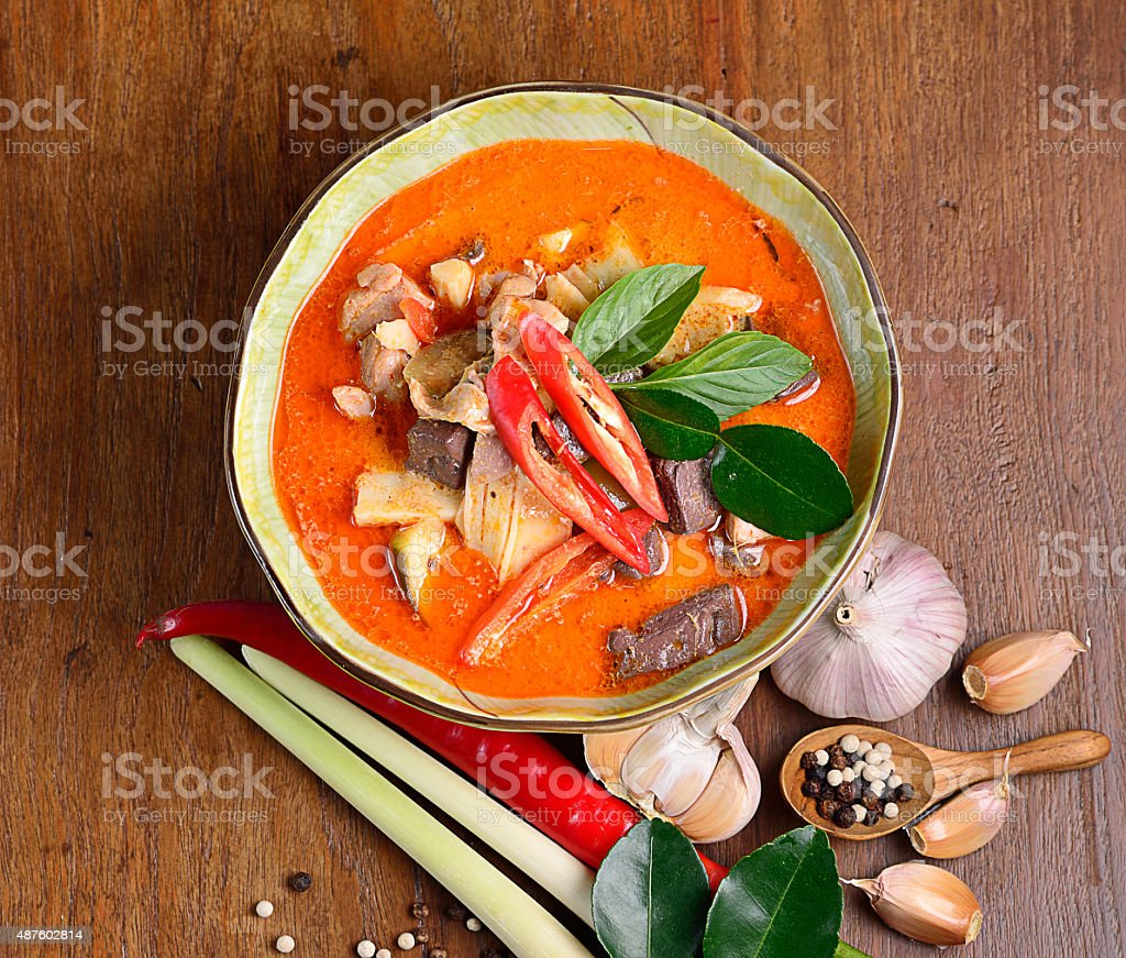 Red pork coconut curry : Delicious and famous Thailand food stock photo