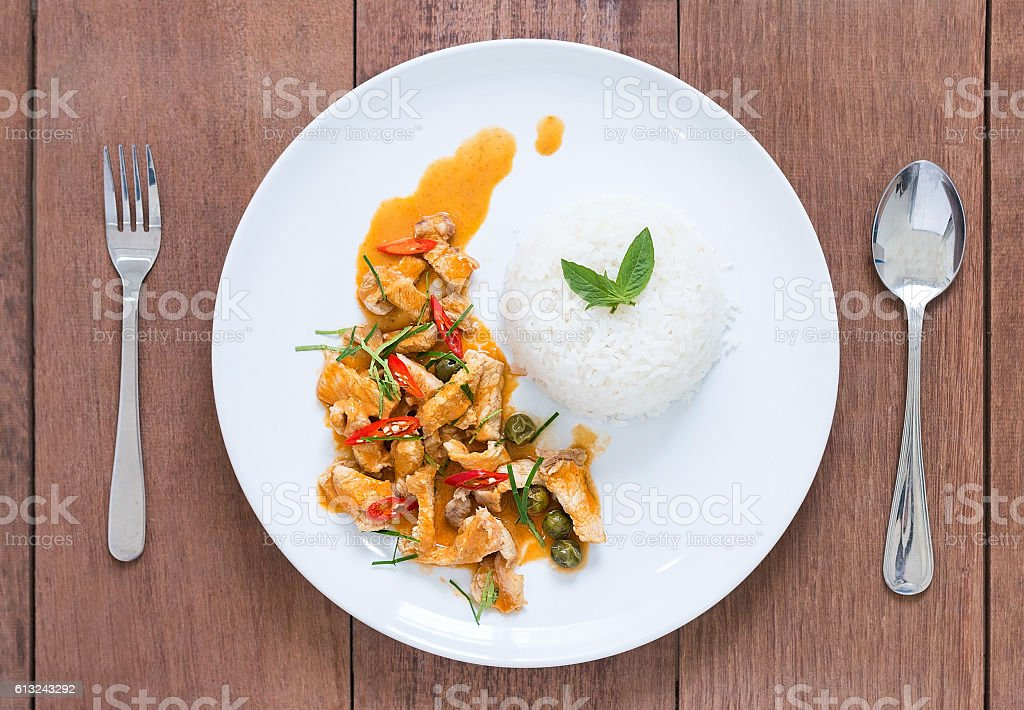 Red pork curry (Panang) with rice, Thai food stock photo