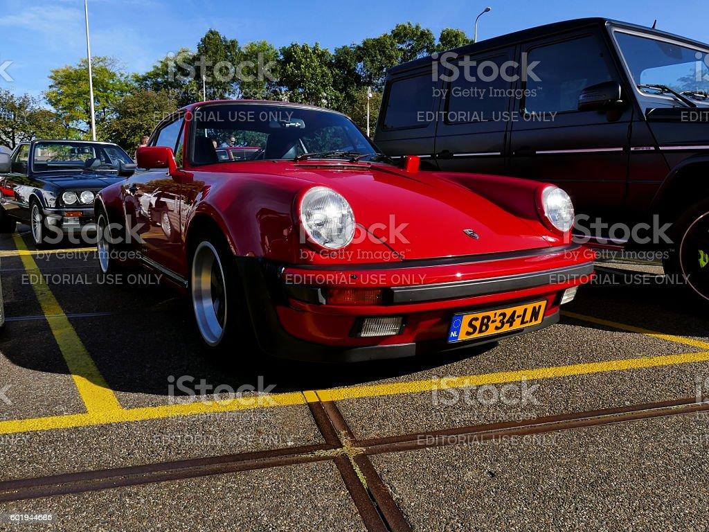 Amsterdam, The Netherlands - September 10, 2016: Red Porsche 911 stock photo