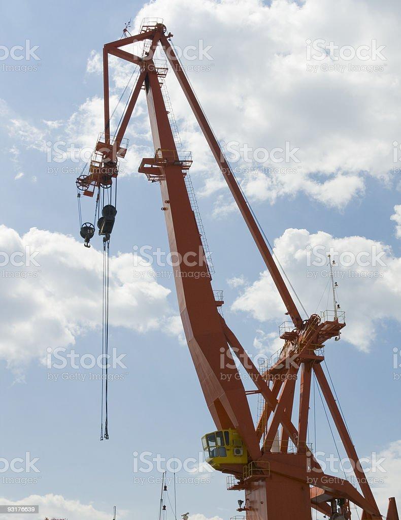 Red port crane stock photo