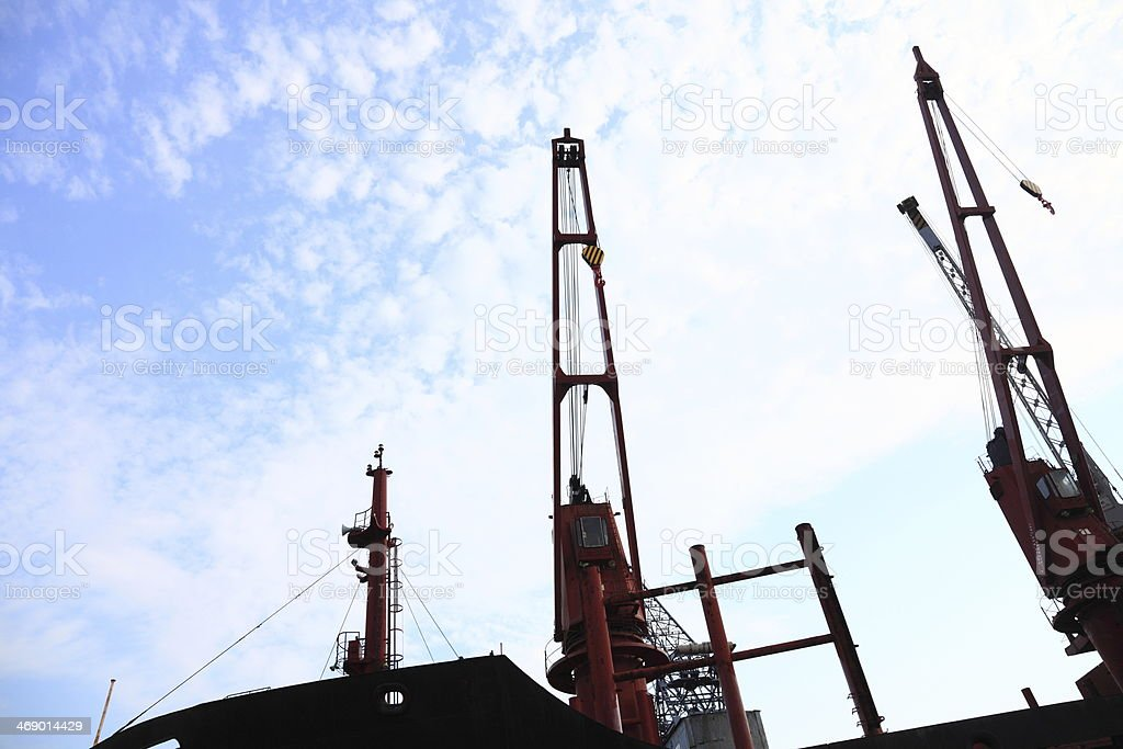 red port crane terminal seaport stock photo