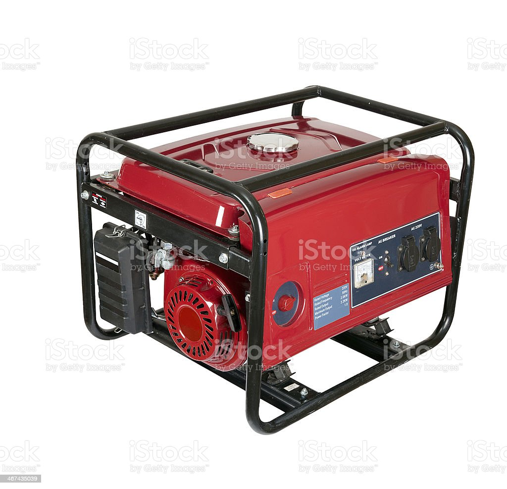 Red portable gasoline generator against a white background stock photo
