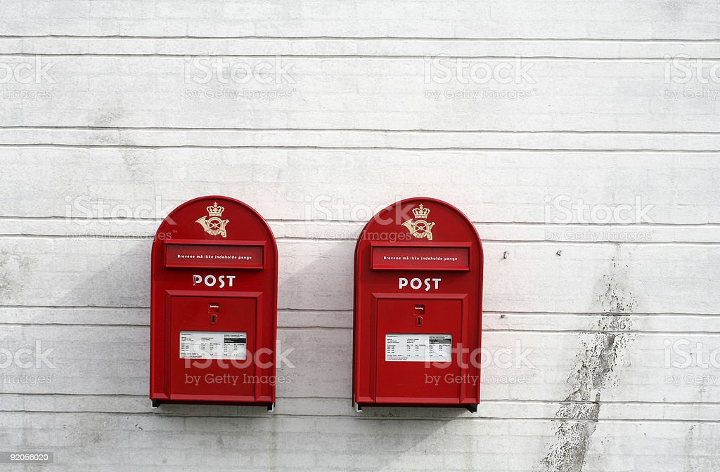 red post boxes royalty-free stock photo