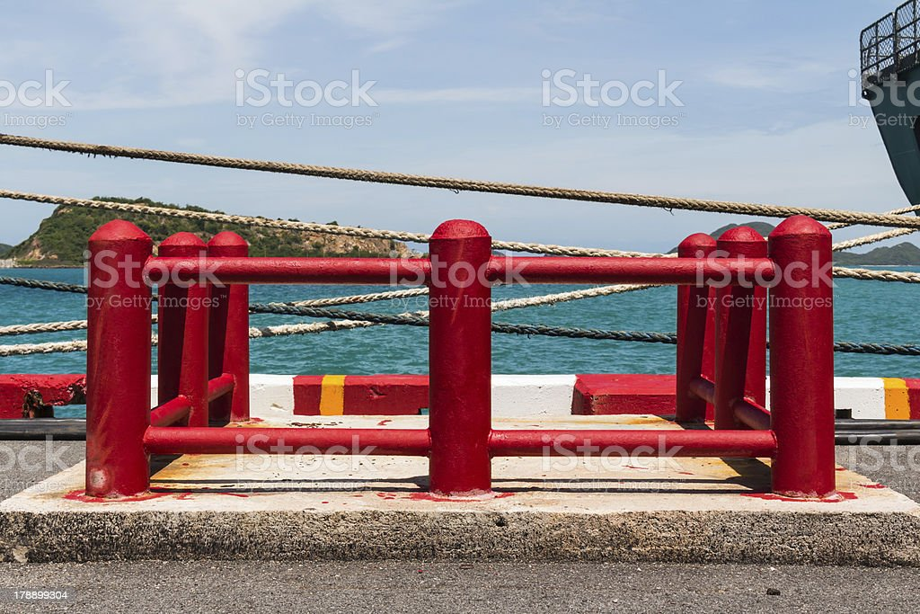 Red post fence royalty-free stock photo