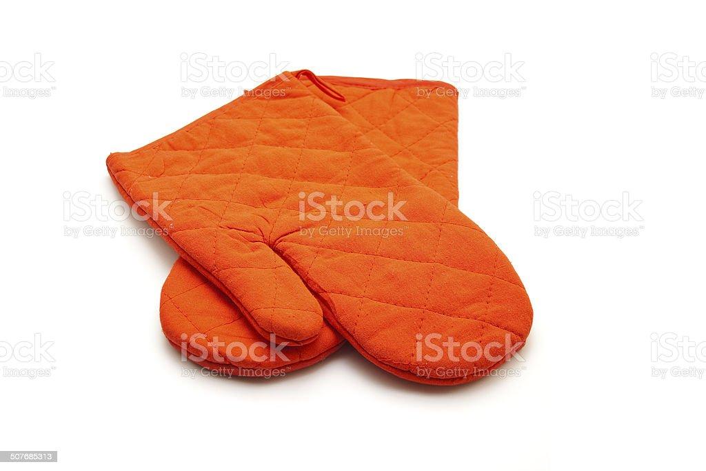 Red Pot Holder Gloves stock photo