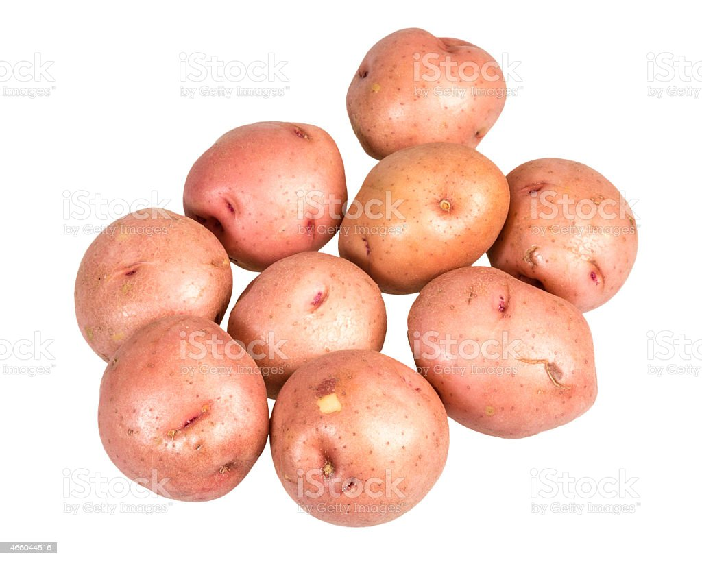 Red potatoes isolated on white stock photo