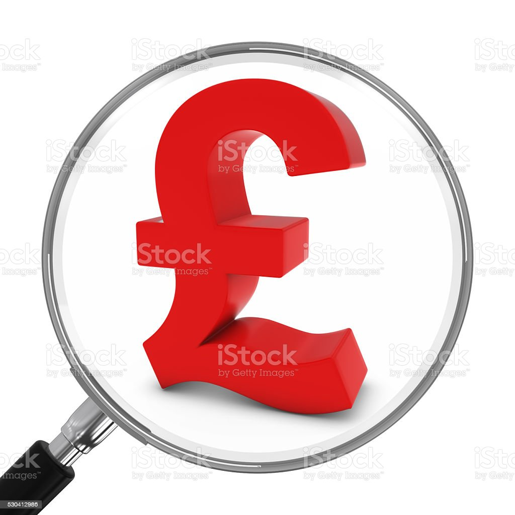 Red Pound Symbol Under Magnifying Glass - 3D Illustration stock photo