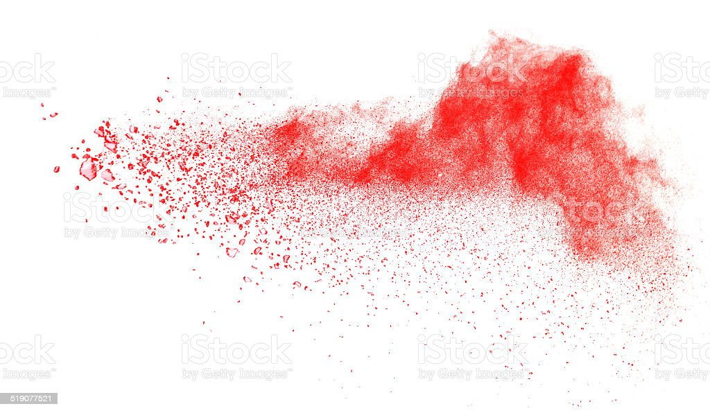 red powder explosion isolated on white stock photo