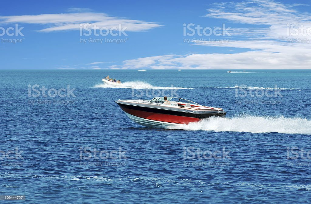 red power boat stock photo