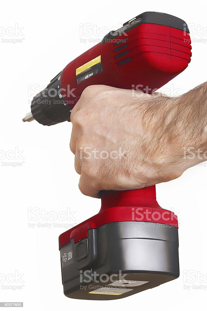 red power drill rote Bohrmaschine stock photo