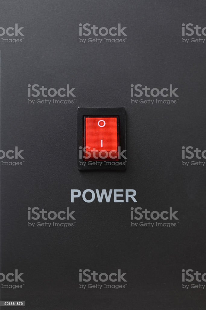 Red power switch in off position stock photo