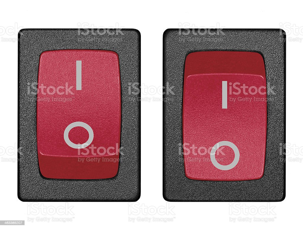 Red power switch in on off position, isolated macro closeup stock photo