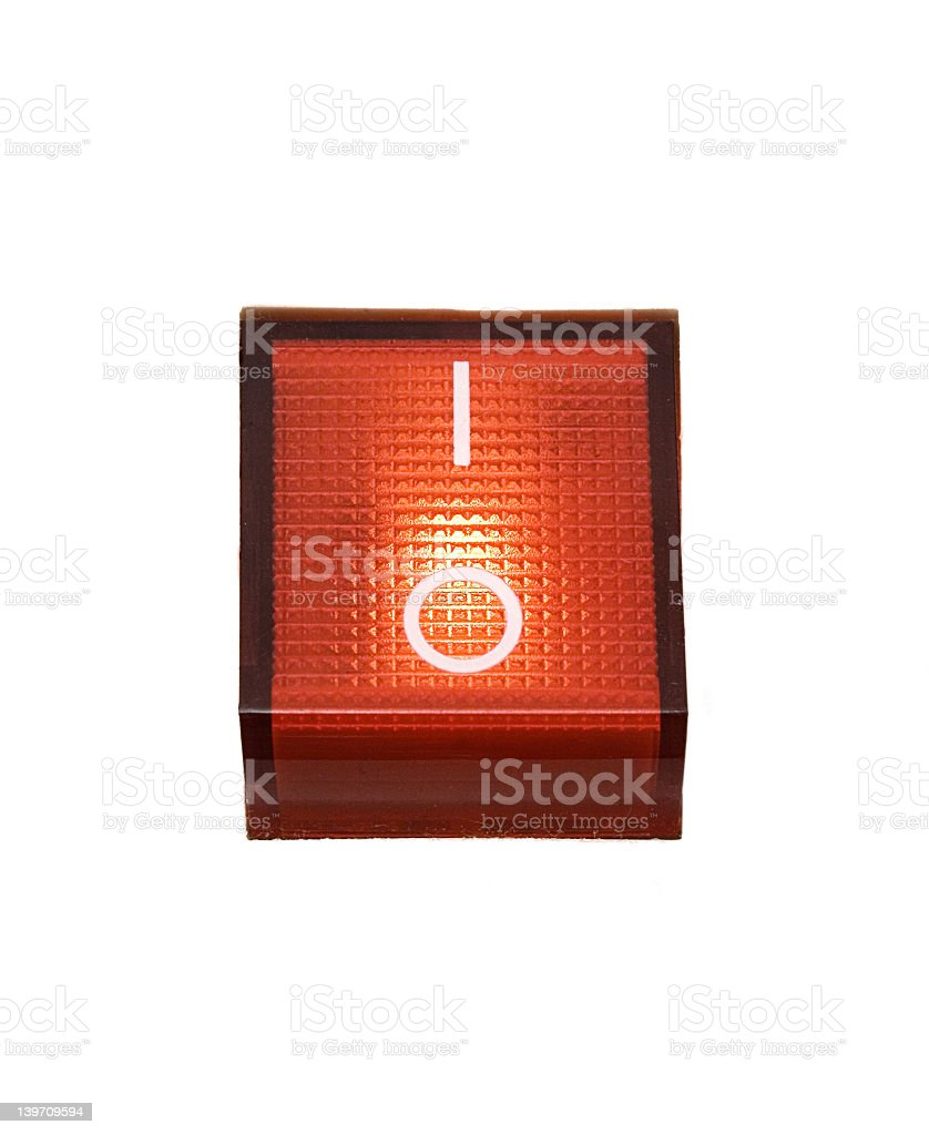 Red Power Switch - ON stock photo