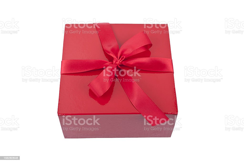 red present box isolated on white royalty-free stock photo