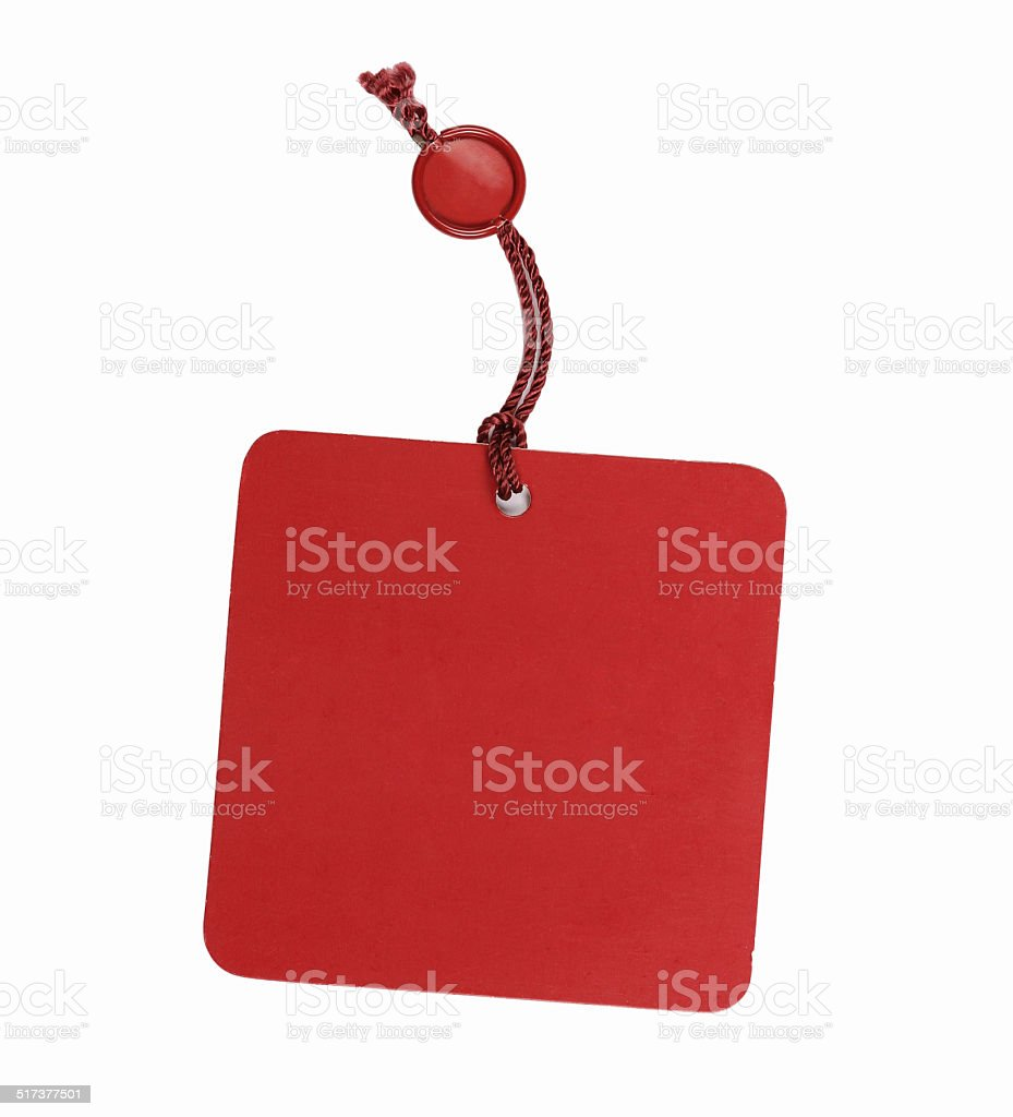 Red price label, isolated stock photo