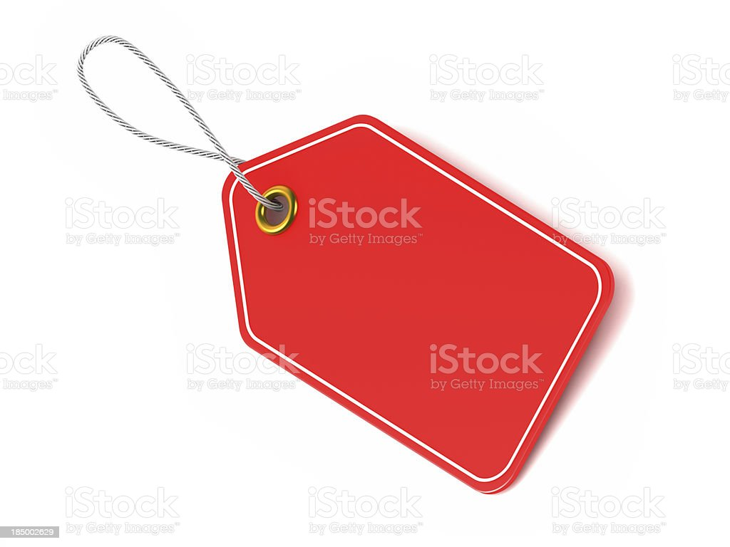 Red price tag label stock photo