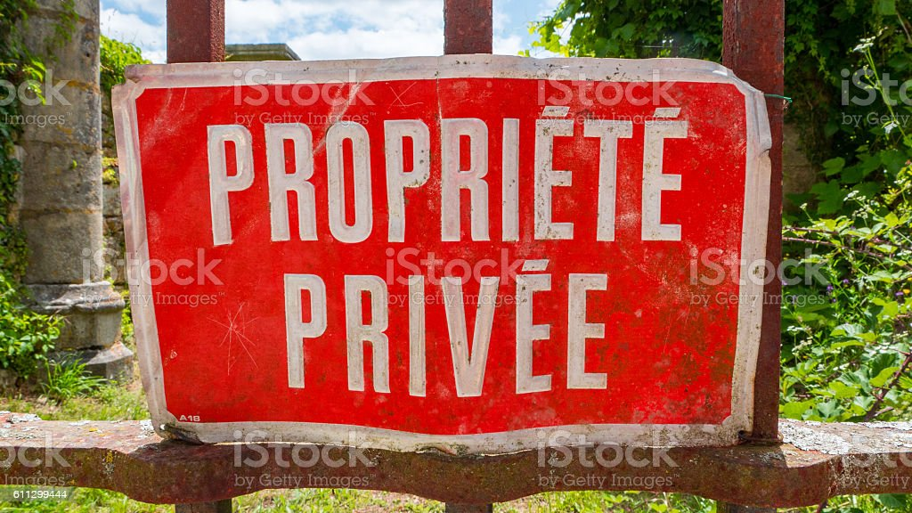 Red Private Property sign in France Propriete Privee stock photo