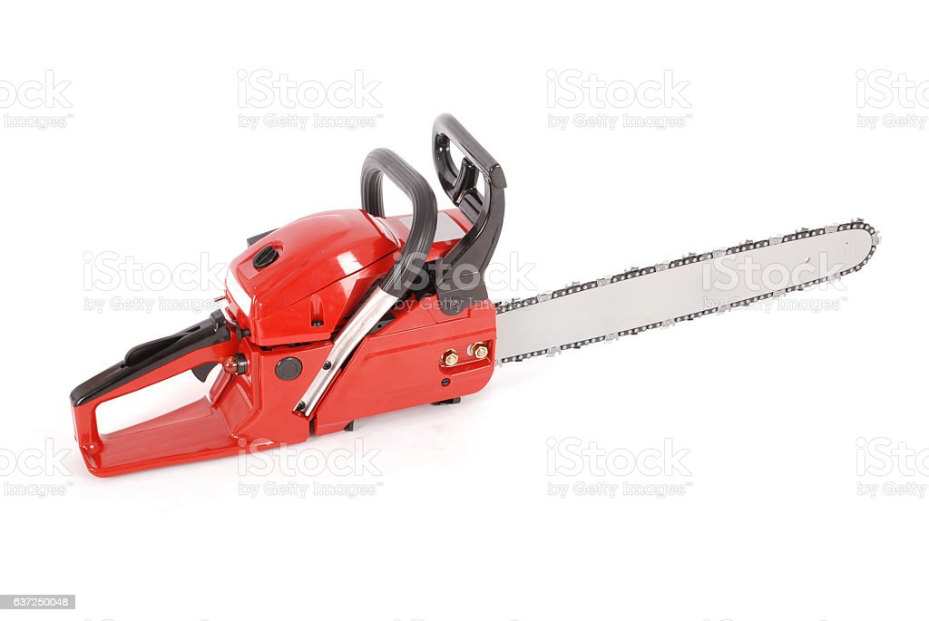 Red professional chainsaw stock photo