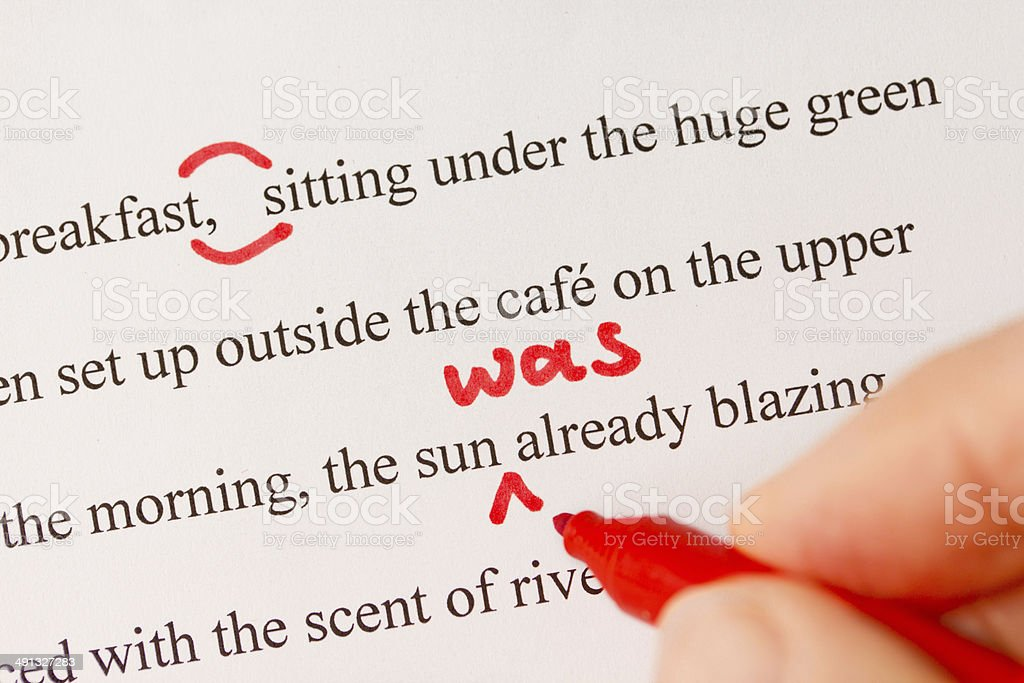 Red Proofreading Marks and Pen Closeup stock photo