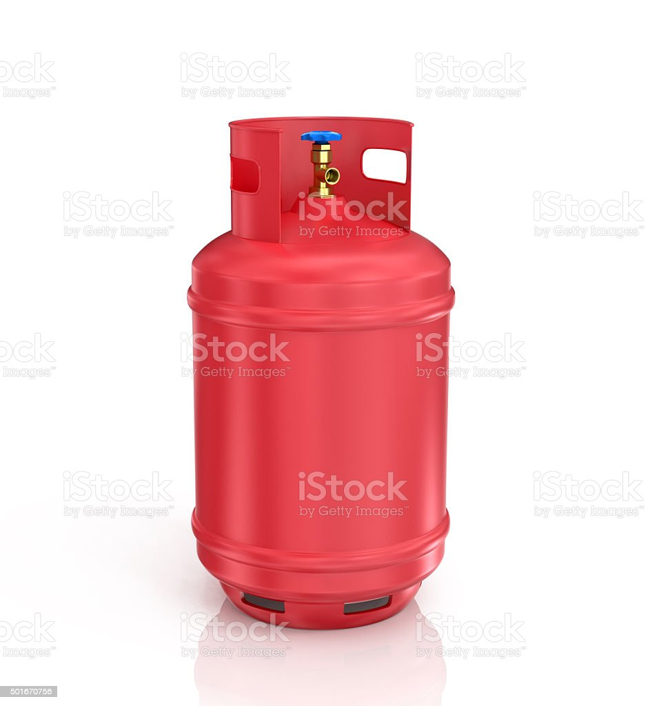 red propane cylinder with compressed gas stock photo