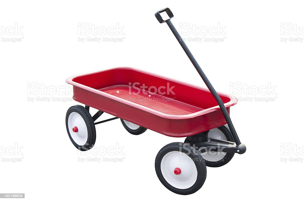 Red pull trolley isolated on white. stock photo