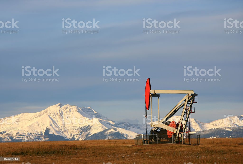 Red Pumpjack in Alberta royalty-free stock photo