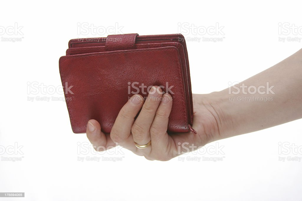 red purse in hand stock photo