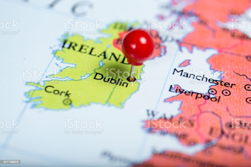 Red push pin on map of Ireland stock photo