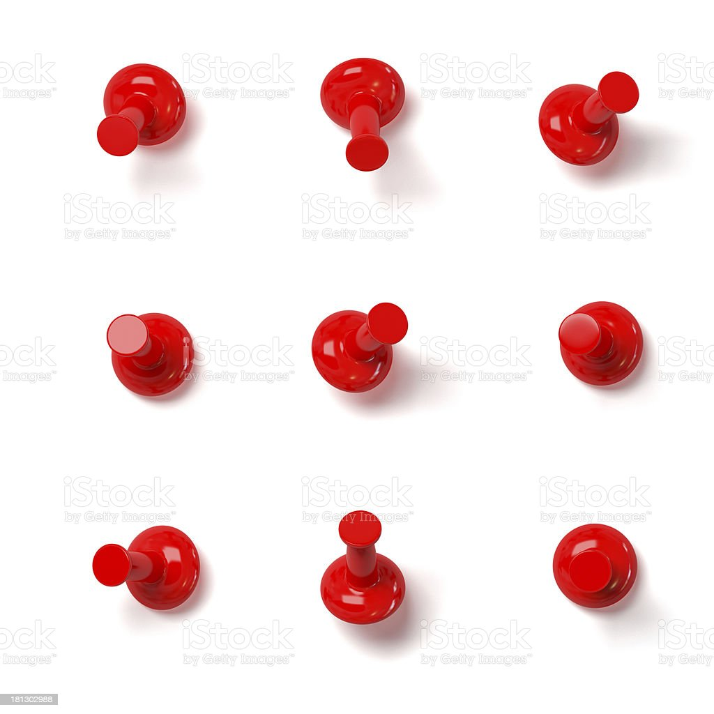 Red push pins stock photo
