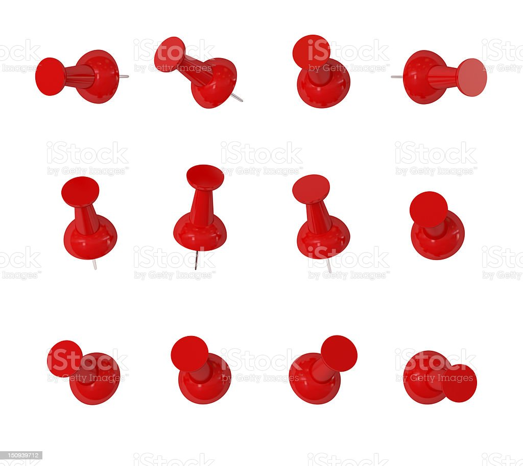 Red push pins with path stock photo