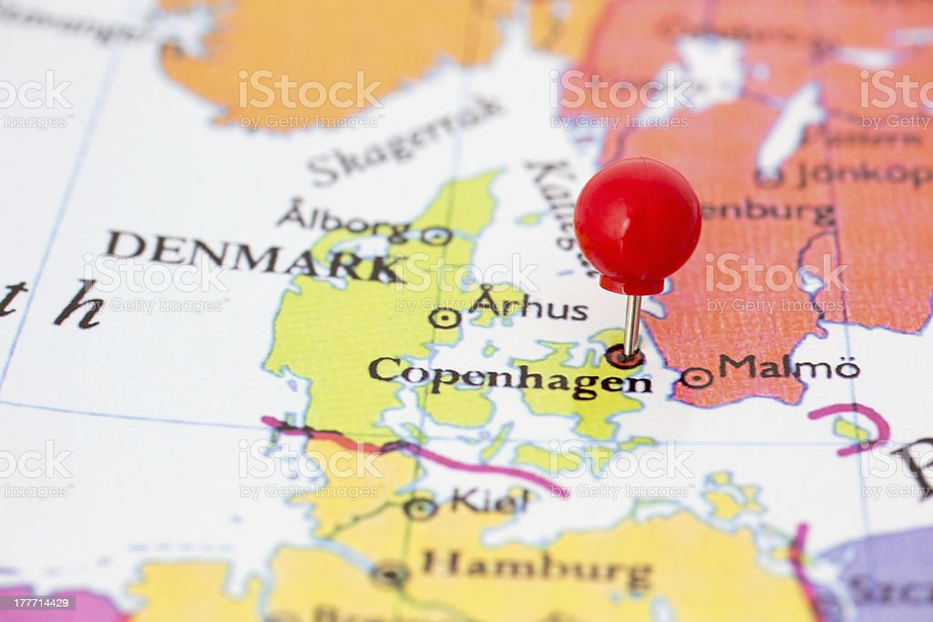 Red Pushpin on Map of Denmark stock photo