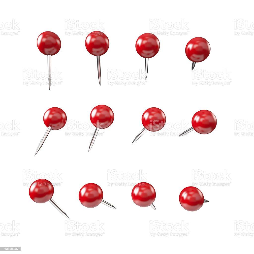 Red pushpin , various shapes stock photo
