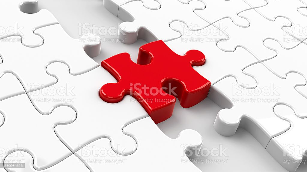 Red puzzle connection closeup #2 stock photo
