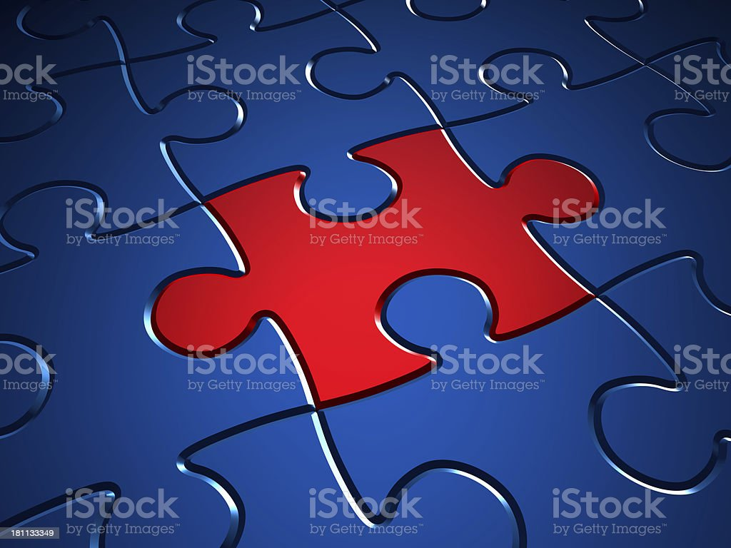 Red puzzle piece among blue pieces royalty-free stock photo