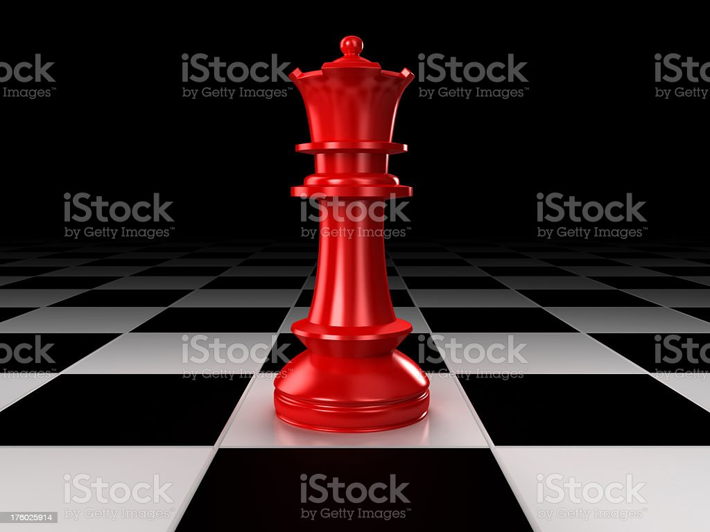 A red queen chess piece on a chessboard stock photo