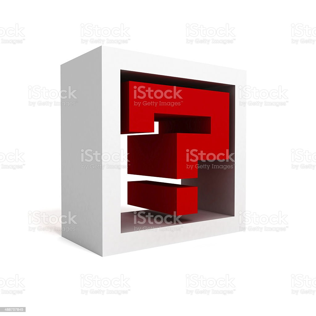 red question mark block icon symbol on white stock photo