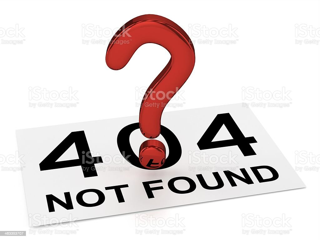 Red Question Point and Sheet (404 NOT FOUND) stock photo