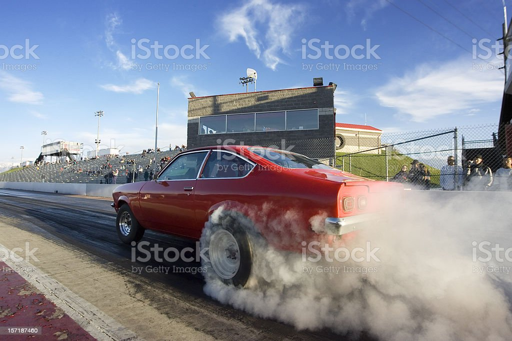 Red Race Car on Drag Strip stock photo
