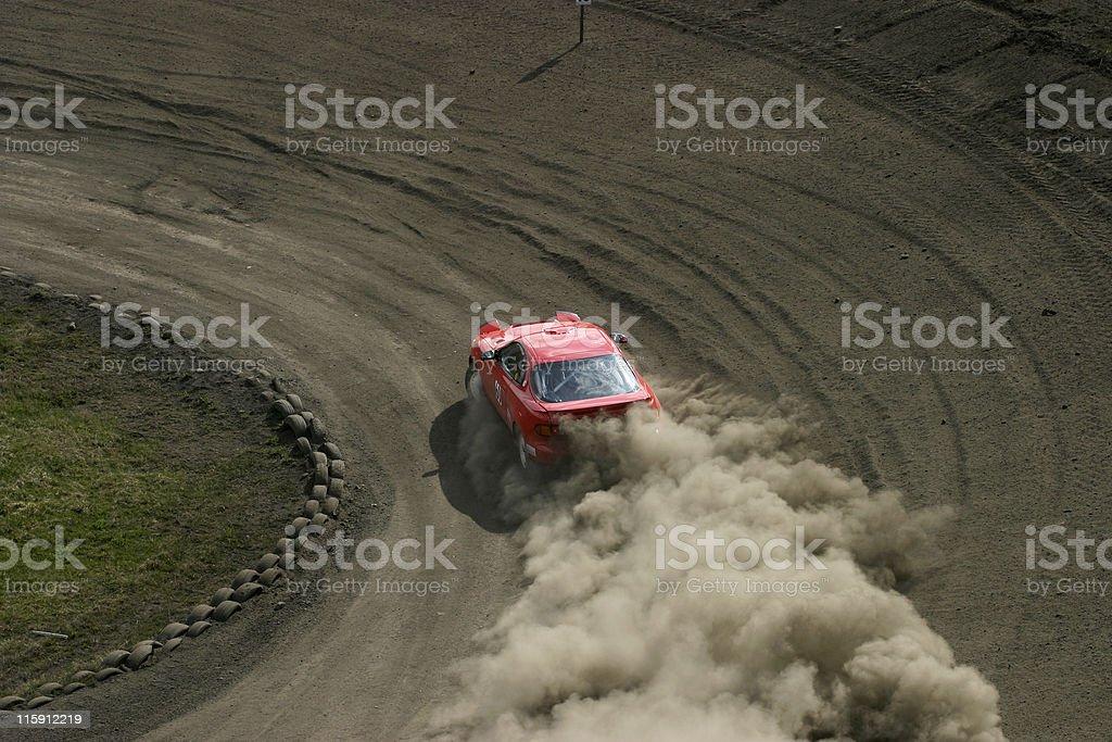 Red racing car stock photo