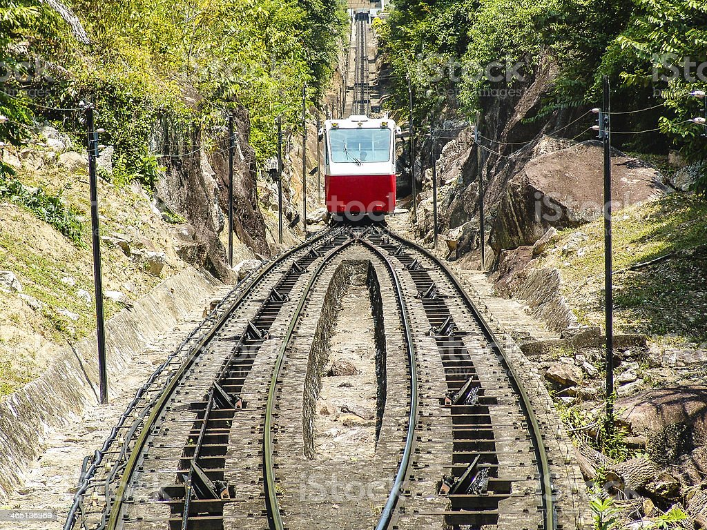 red rack railway climing up the hill stock photo