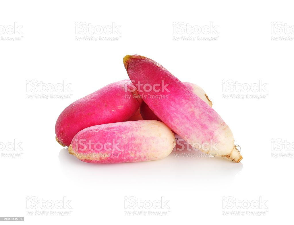 red radishes on a white background stock photo