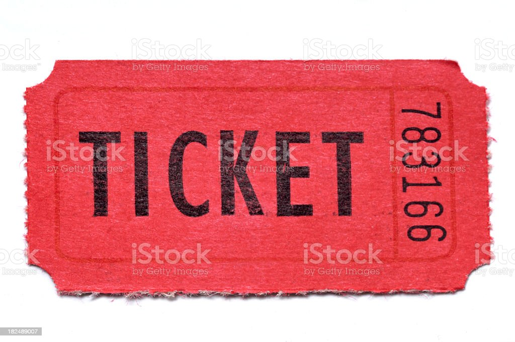 Red raffle ticket on white background stock photo