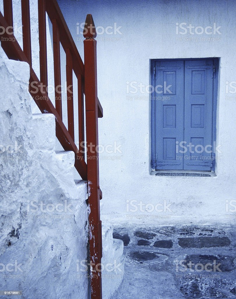 Red Railing, Blue Window, Mykonos, Greece stock photo