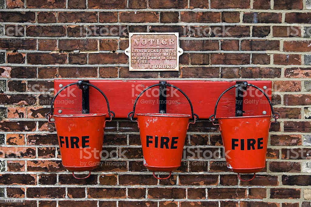 Red railway fire buckets royalty-free stock photo