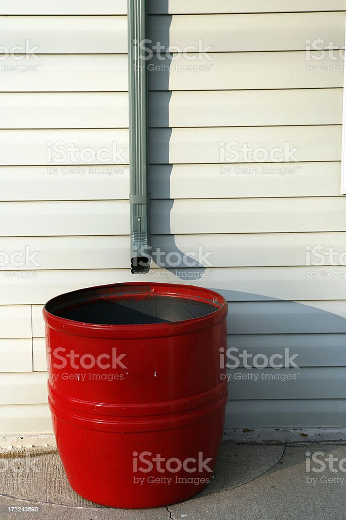 Red Rain Barrel stock photo
