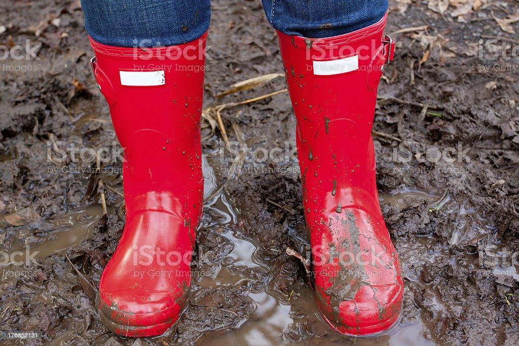 Red Rain Boots stock photo