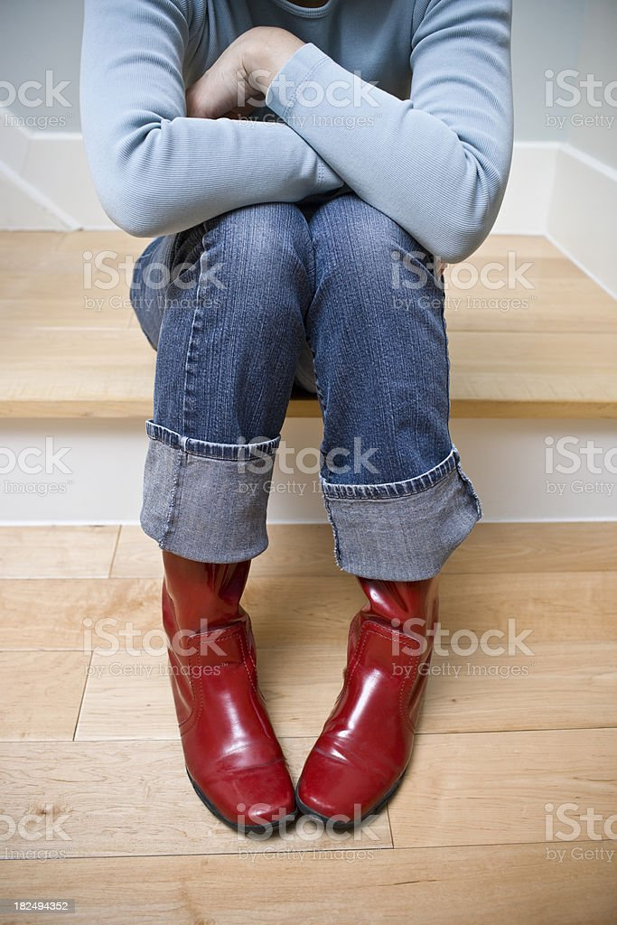 Red Rain Boots royalty-free stock photo
