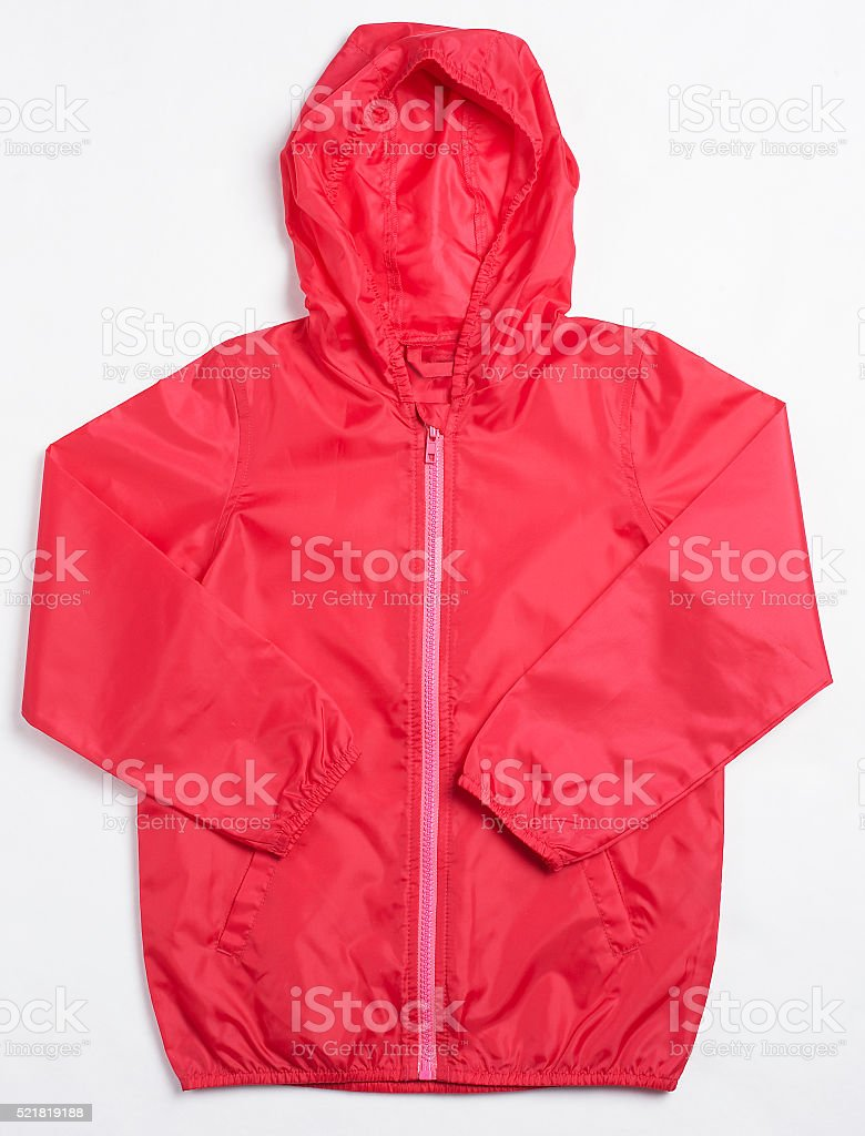 Red Rain Coat with Hood stock photo